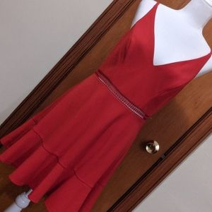 Red trumpet style dress